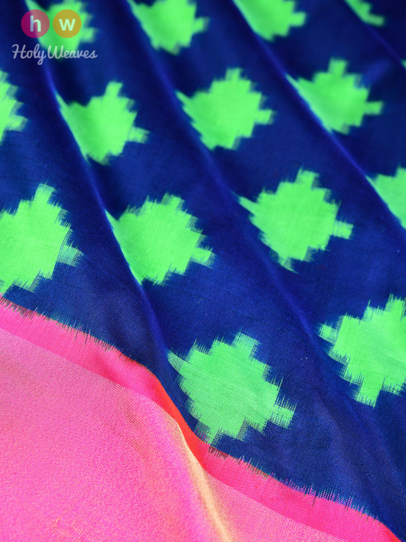 Blue Silk Double Ikat Ganga Jamuna Pochampally Handwoven Saree - HolyWeaves