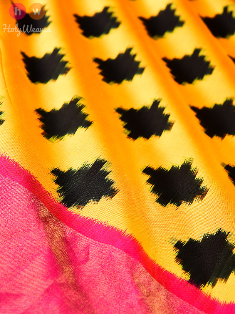 Yellow Pochampally Double Ikat Handwoven Silk Saree - HolyWeaves