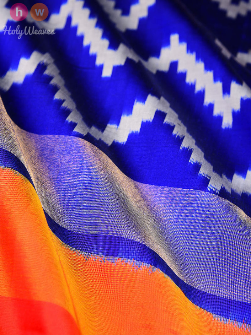 Blue Silk Pochampally Handwoven Saree - HolyWeaves