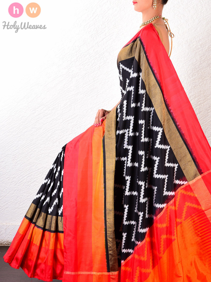 Black Silk Pochampally Handwoven Saree - HolyWeaves