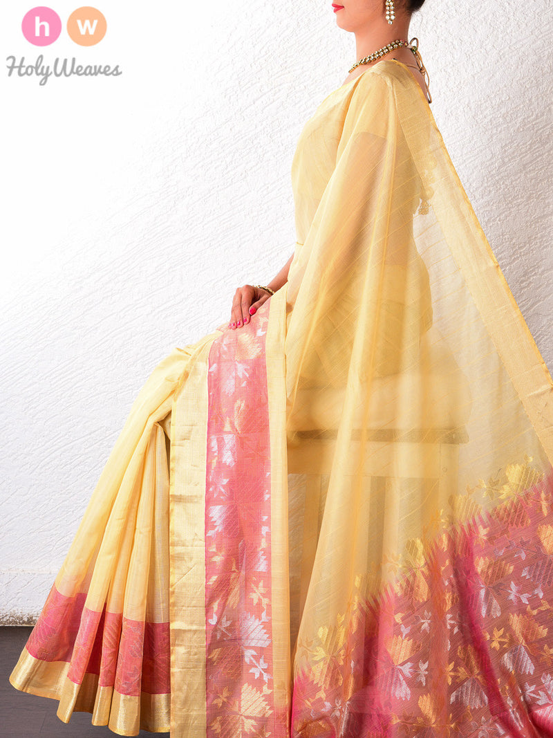 Beige Cotton Silk Brocade Handwoven Saree- HolyWeaves