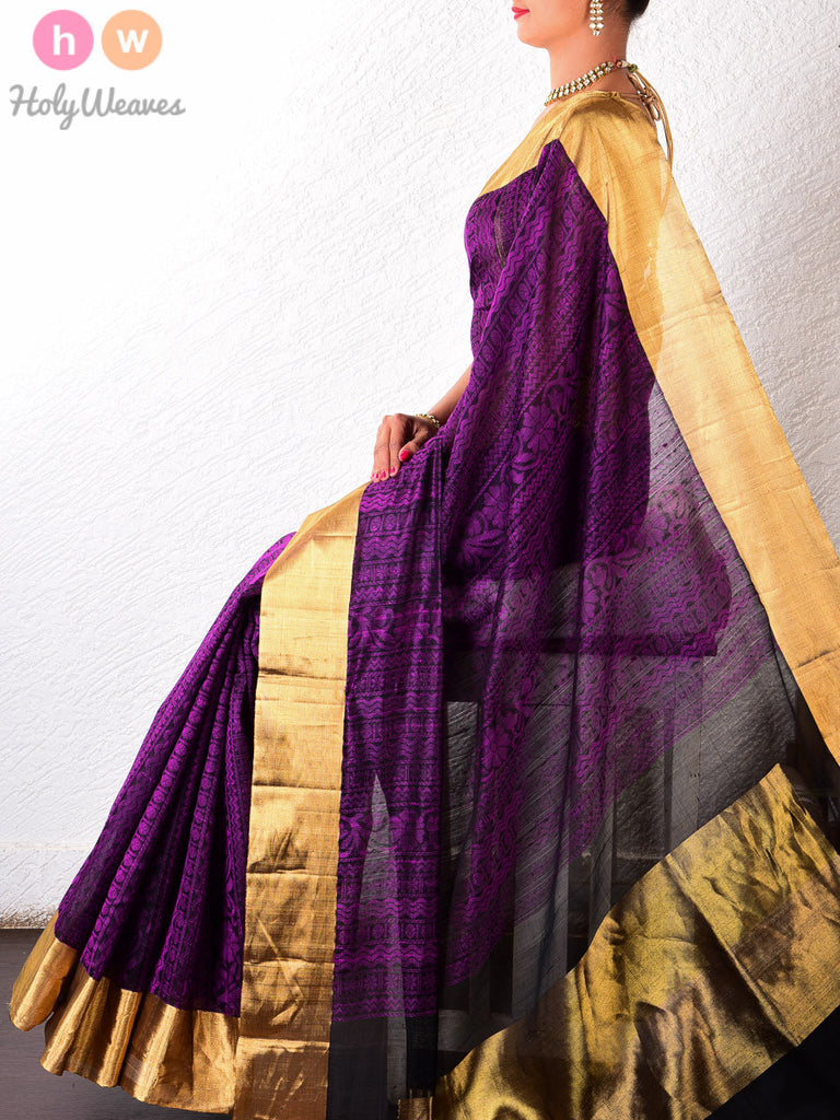 Purple Dupion Silk Brocade Handwoven Saree