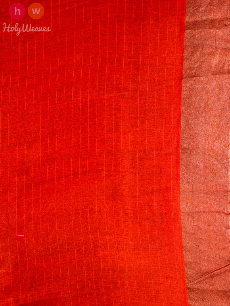 Beige-Red Muga Silk Printed Saree - HolyWeaves