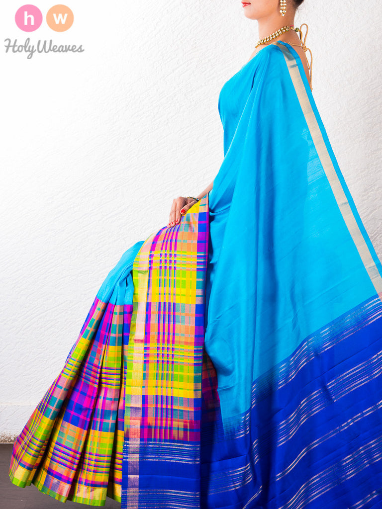 Blue Katan Silk South Brocade Handwoven Saree - HolyWeaves - 1