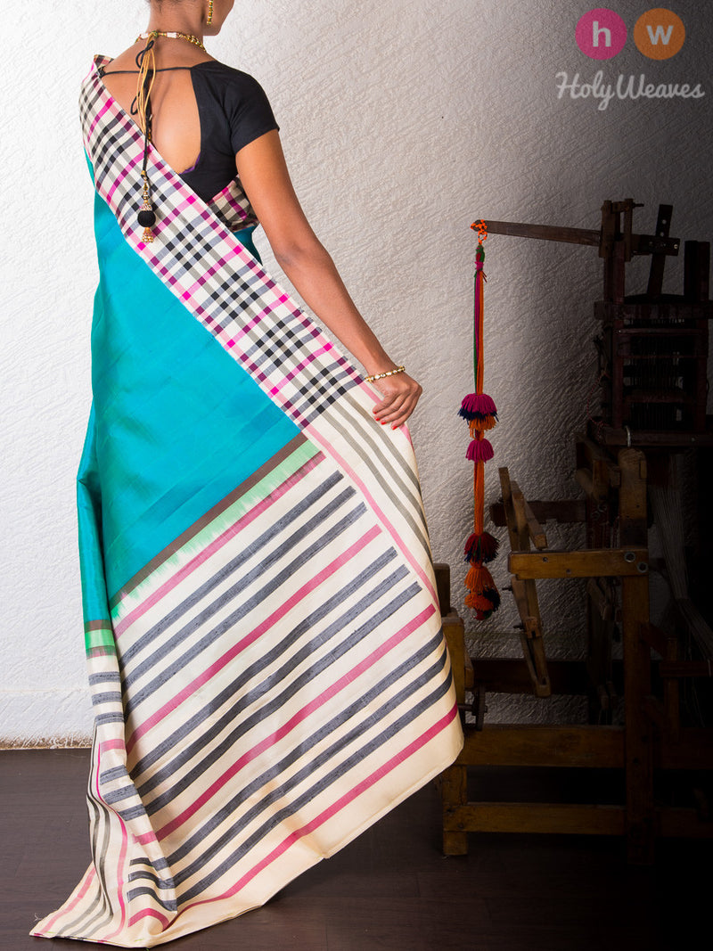Blue Silk   Handwoven Saree - HolyWeaves