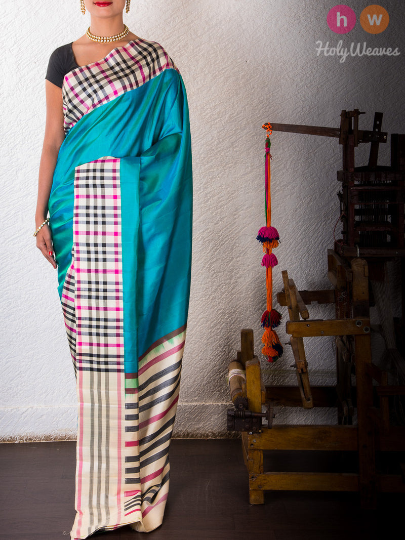 Blue Silk   Handwoven Saree- HolyWeaves