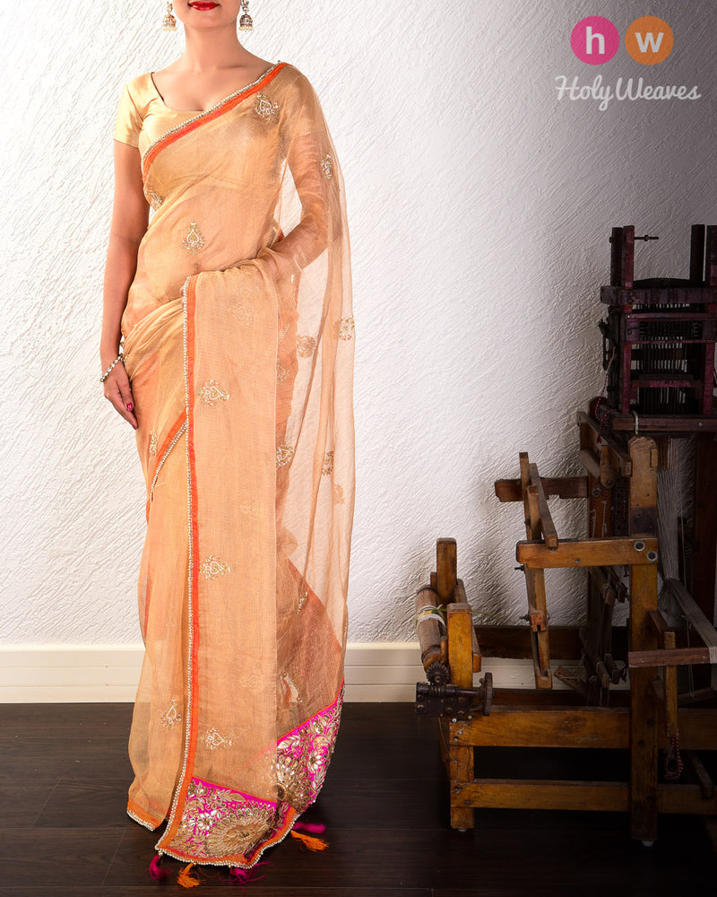 Golden Beige Hand-embroidered Kota Tissue Saree- HolyWeaves