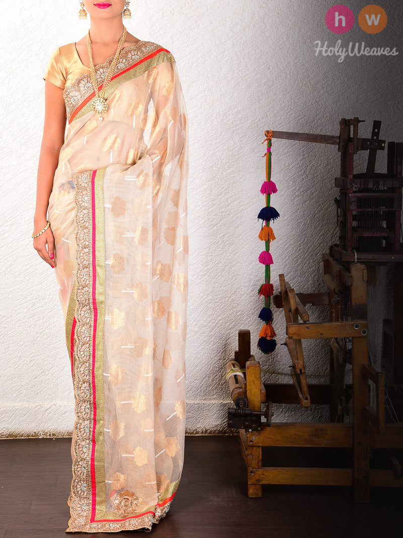 Cream Tissue Net  Embroidered Saree - HolyWeaves