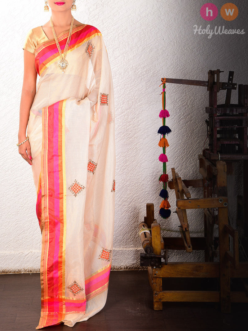 Cream Tissue Kota  Embroidered Saree - HolyWeaves