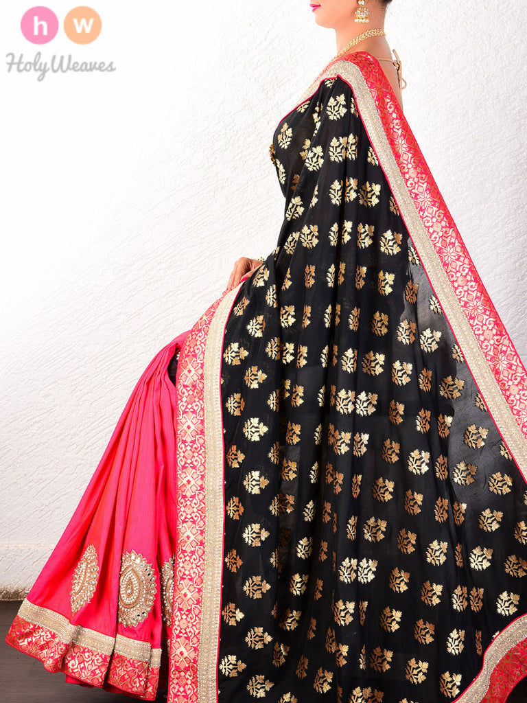 Black Dupion Silk Cutwork Brocade Embroidered Saree - HolyWeaves