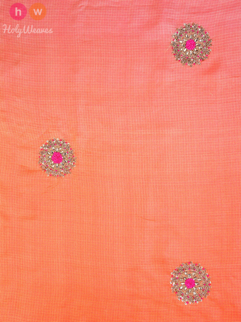 Beige-Orange Silk Kota  Embroidered Saree - HolyWeaves