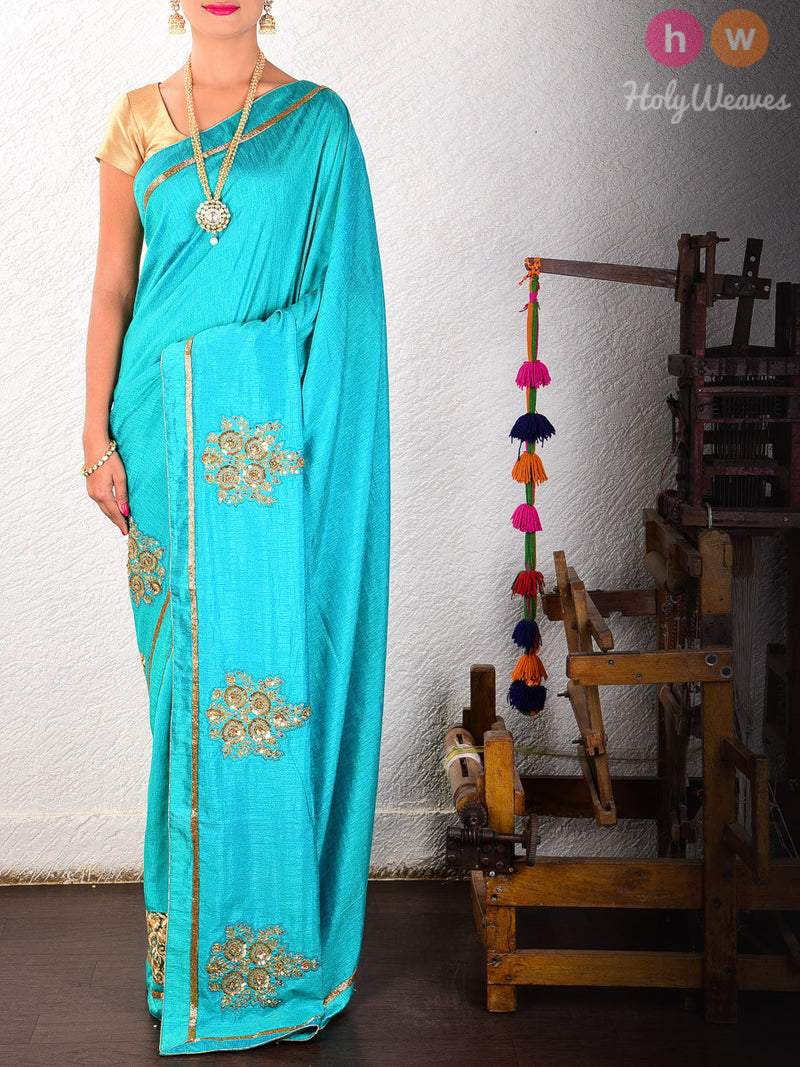 Green Raw Silk  Embroidered Saree - HolyWeaves
