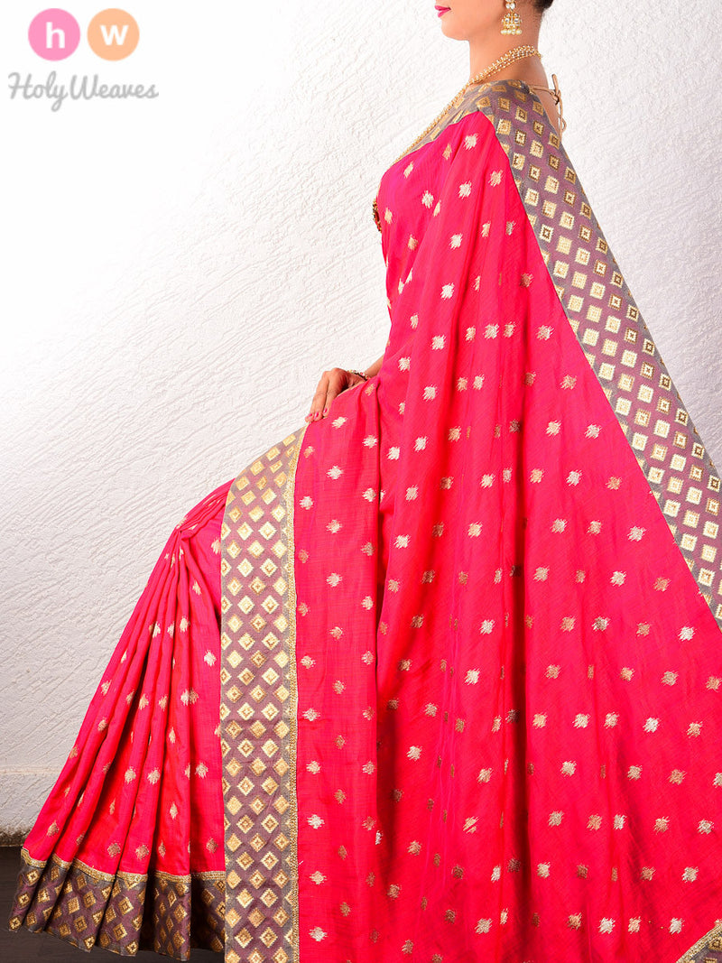 Red Raw Silk  Embroidered Saree - HolyWeaves