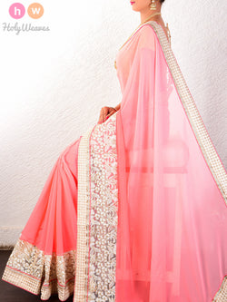 Peach Georgette  Embroidered Saree - HolyWeaves