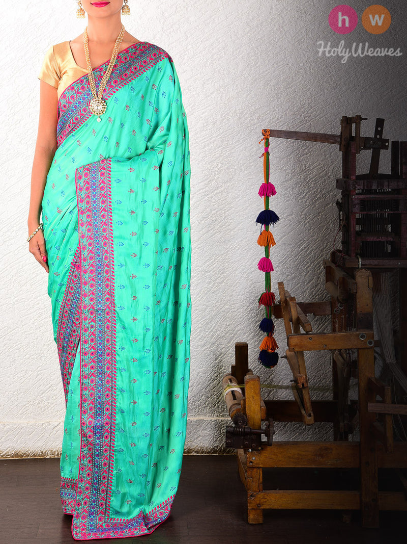Green Poly  Embroidered Saree - HolyWeaves