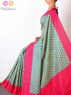 Green   Silk   Printed Saree - HolyWeaves