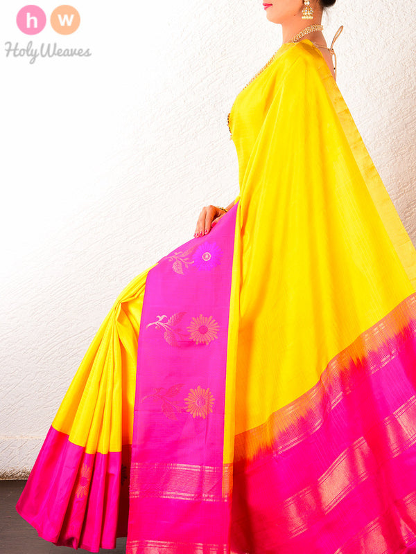 Yellow Silk Brocade Handwoven Saree with Kadiyal borders- HolyWeaves