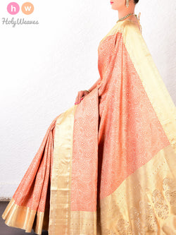 Peach Silk Tanchoi Brocade Handwoven Saree - HolyWeaves