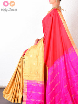 Multi-color Silk Kadhuan (कढ़ुआँ) Brocade Handwoven Saree - HolyWeaves