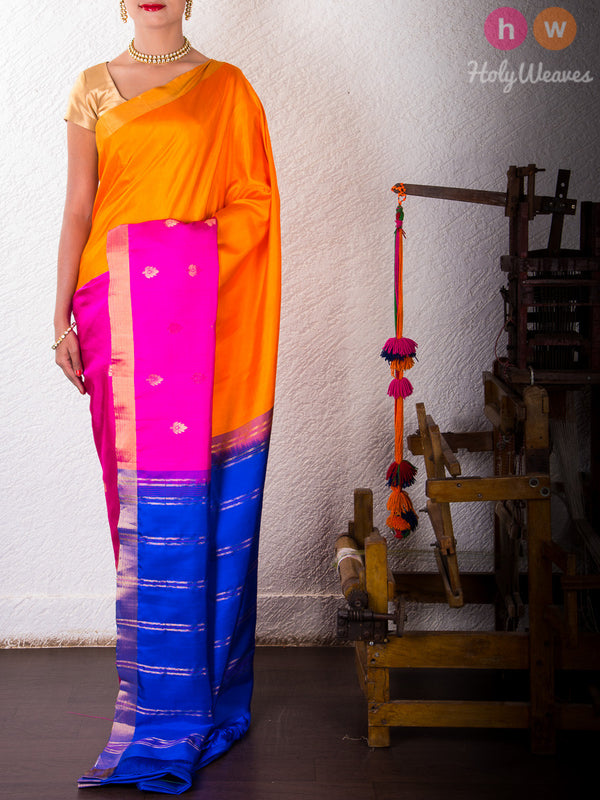 Orange-Pink Silk Kadhuan (कढ़ुआँ) Brocade Handwoven Saree- HolyWeaves