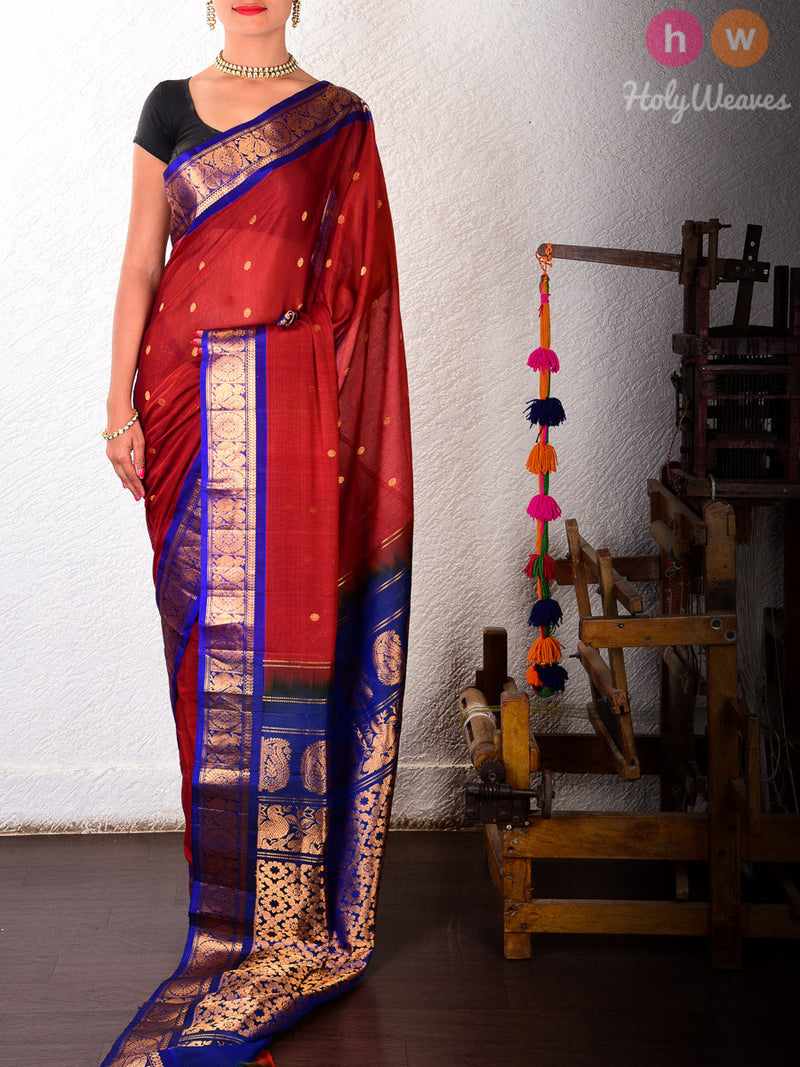 Red Cotton Silk Kadhuan Brocade Handwoven Gadwal Saree - HolyWeaves