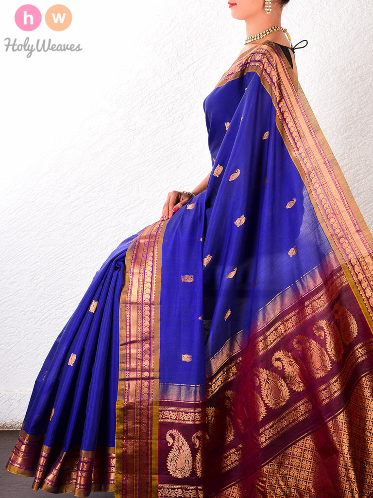 Purple Cotton Silk Kadhuan Brocade Handwoven Gadwal Saree