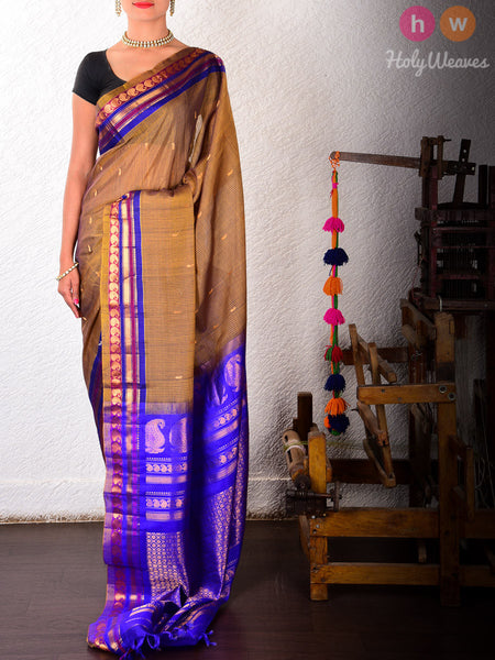 Green Cotton Silk Kadhuan Brocade Handwoven Gadwal Saree