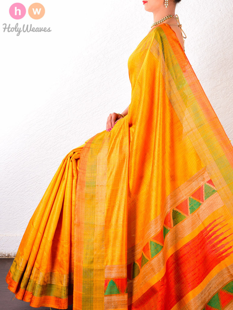 Yellow Raw Silk Brocade Handwoven Saree
