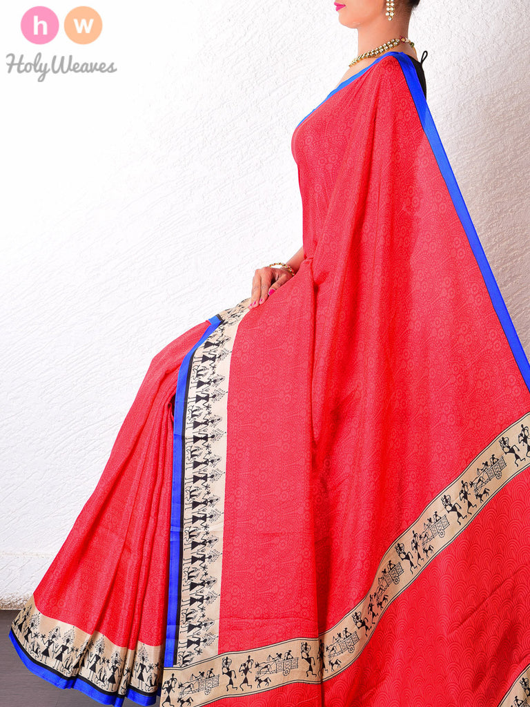 Red   Silk   Printed Saree - HolyWeaves