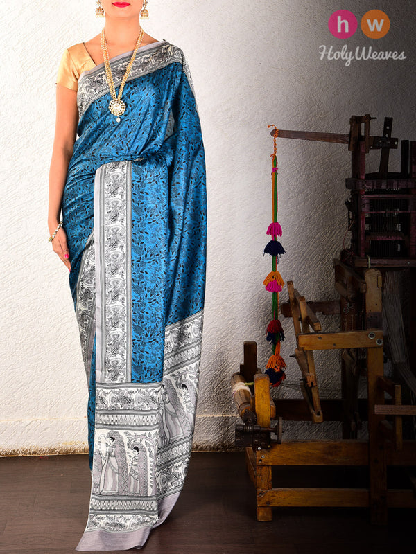 Blue Printed Pure Silk Saree - HolyWeaves