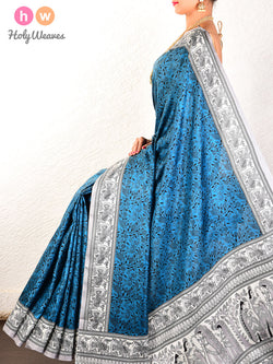 Blue Printed Pure Silk Saree- HolyWeaves