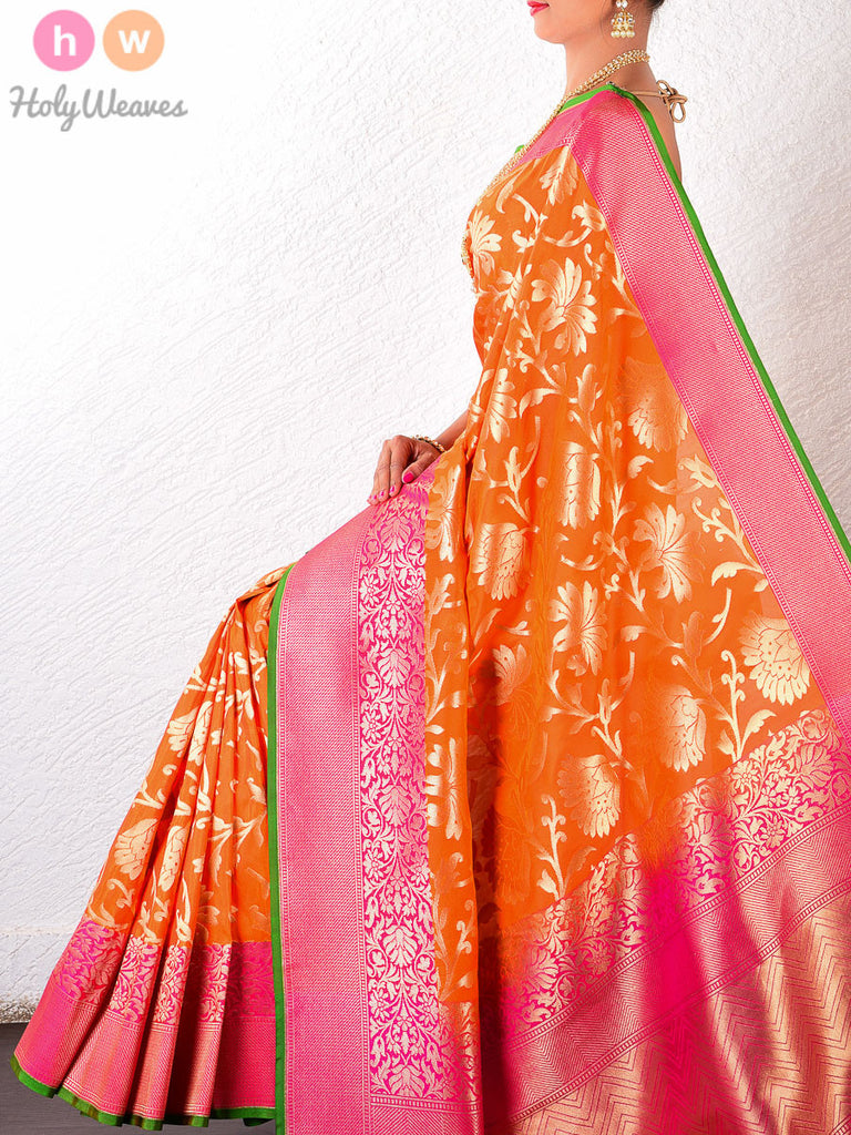 Orange Art Silk Cutwork Brocade Woven Saree