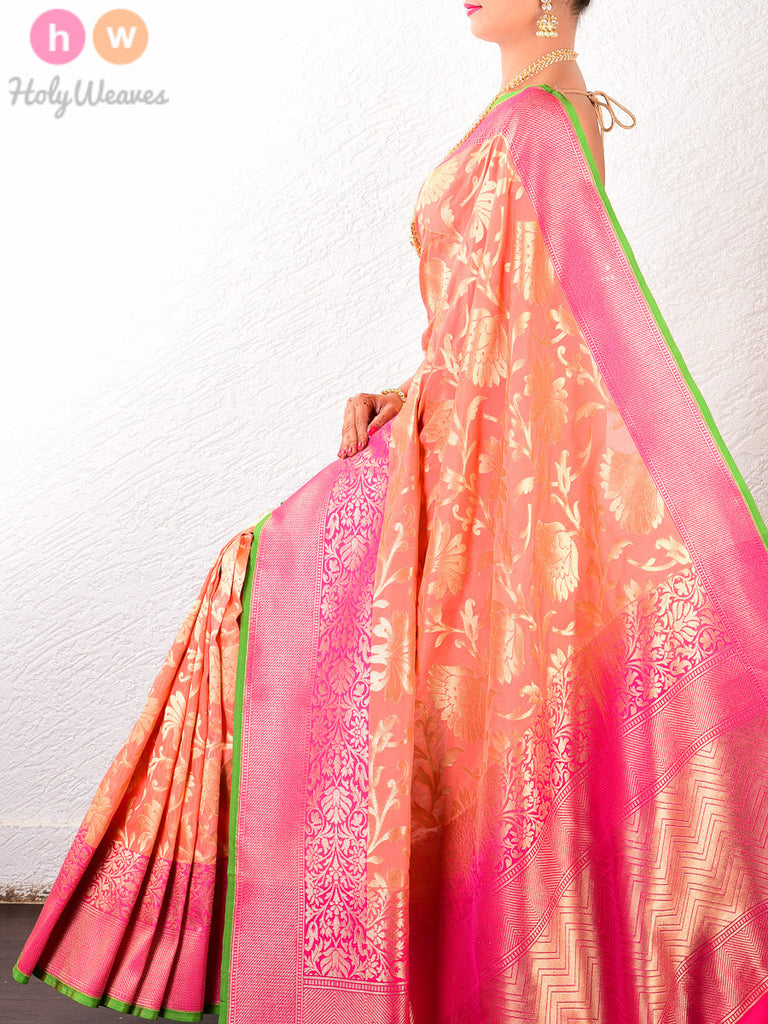 Peach Art Silk Cutwork Brocade Woven Saree - HolyWeaves