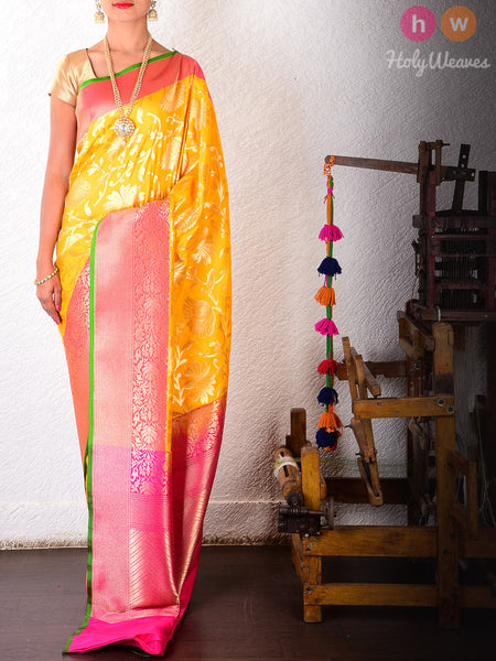 Yellow Art Silk Cutwork Brocade Woven Saree