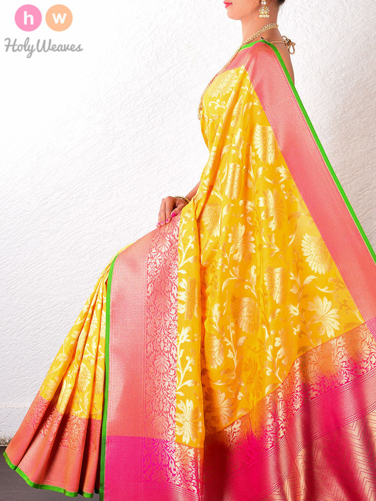 Yellow Art Silk Cutwork Brocade Woven Saree - HolyWeaves