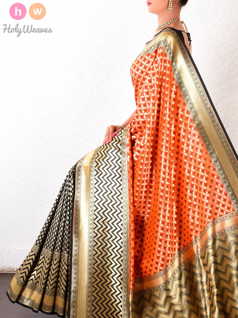 Orange Art Silk Banarasi Cutwork Brocade Woven Saree - HolyWeaves