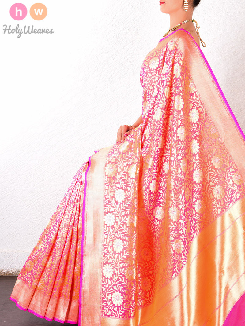 Peach Katan Silk Cutwork Brocade Handwoven Saree - HolyWeaves