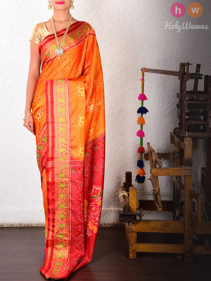 Mustard Yellow & Red Nari-Kunjar Silk Patola Handwoven Saree - HolyWeaves