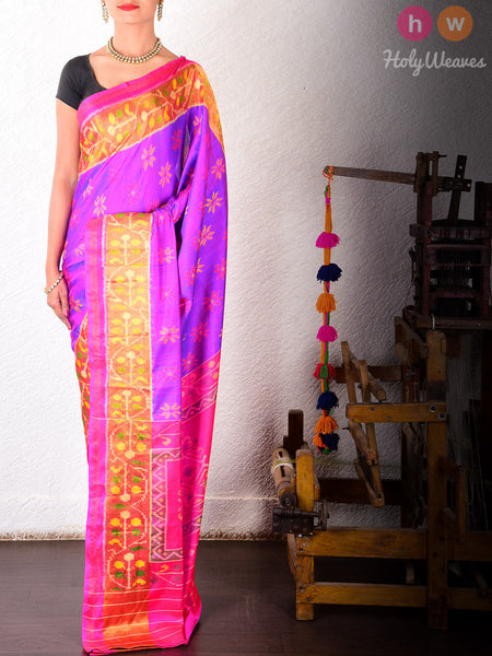 Purple Katan Silk Patola Handwoven Saree - HolyWeaves - 2