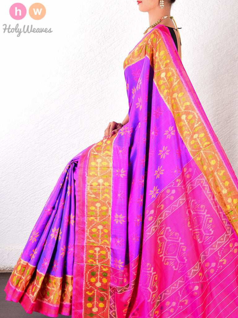 Purple Katan Silk Patola Handwoven Saree - HolyWeaves - 1