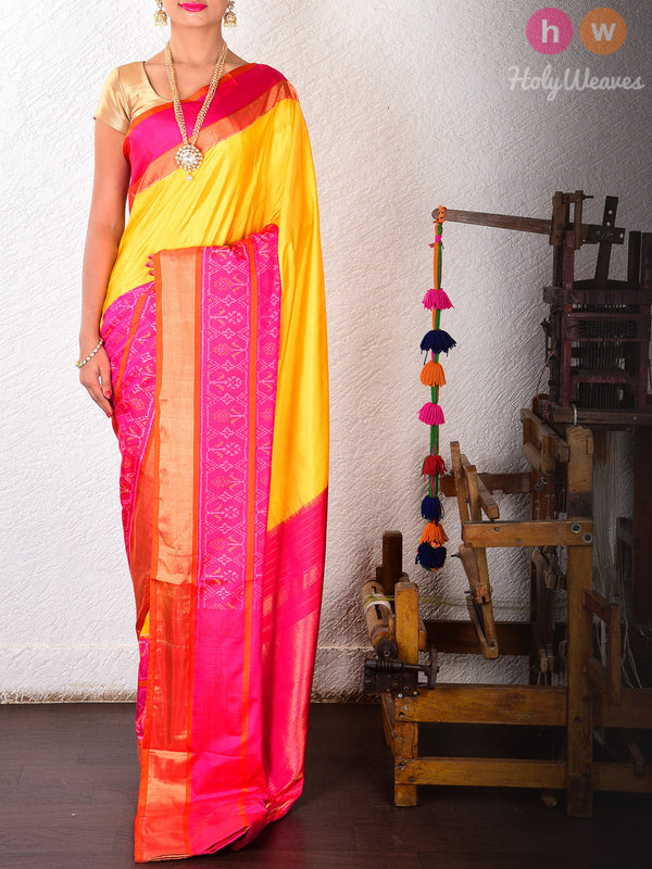 Yellow-Pink Silk Pochampally Handwoven Saree- HolyWeaves