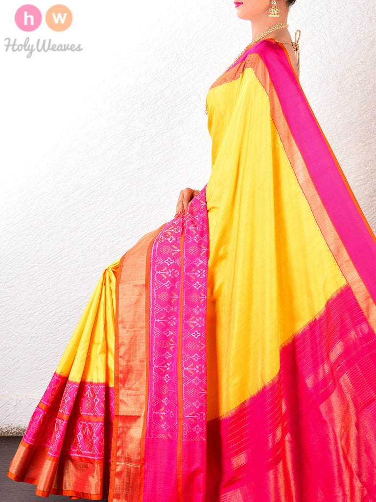 Yellow-Pink Silk Pochampally Handwoven Saree - HolyWeaves