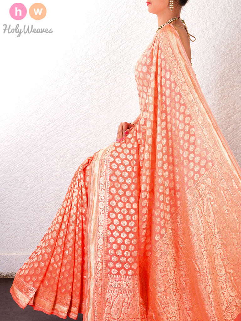 Peach Georgette Khaddi Cutwork Brocade Handwoven Saree - HolyWeaves - 1