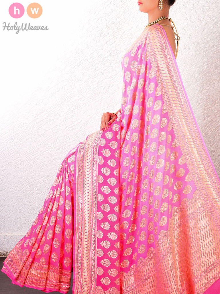 Pink Georgette Khaddi Cutwork Brocade Handwoven Saree - HolyWeaves - 1