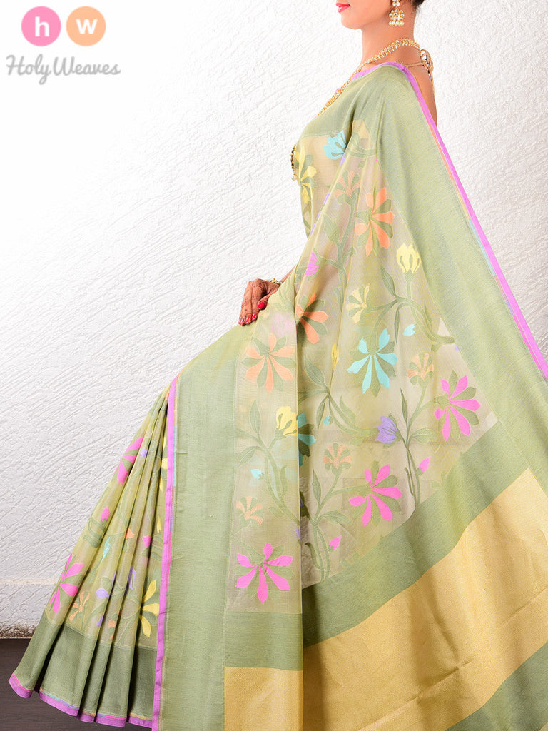 Green Floral Kora Silk Banarasi Cutwork Brocade Handwoven Saree - HolyWeaves