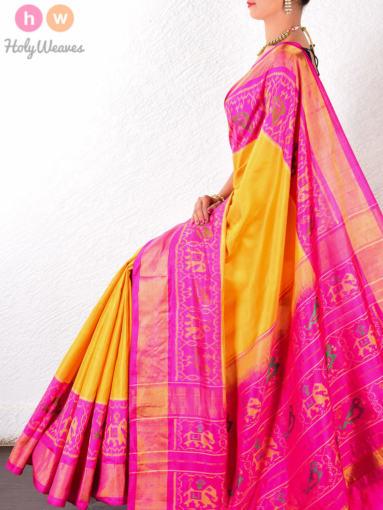 Yellow Katan Silk Patola Handwoven Saree - HolyWeaves - 1