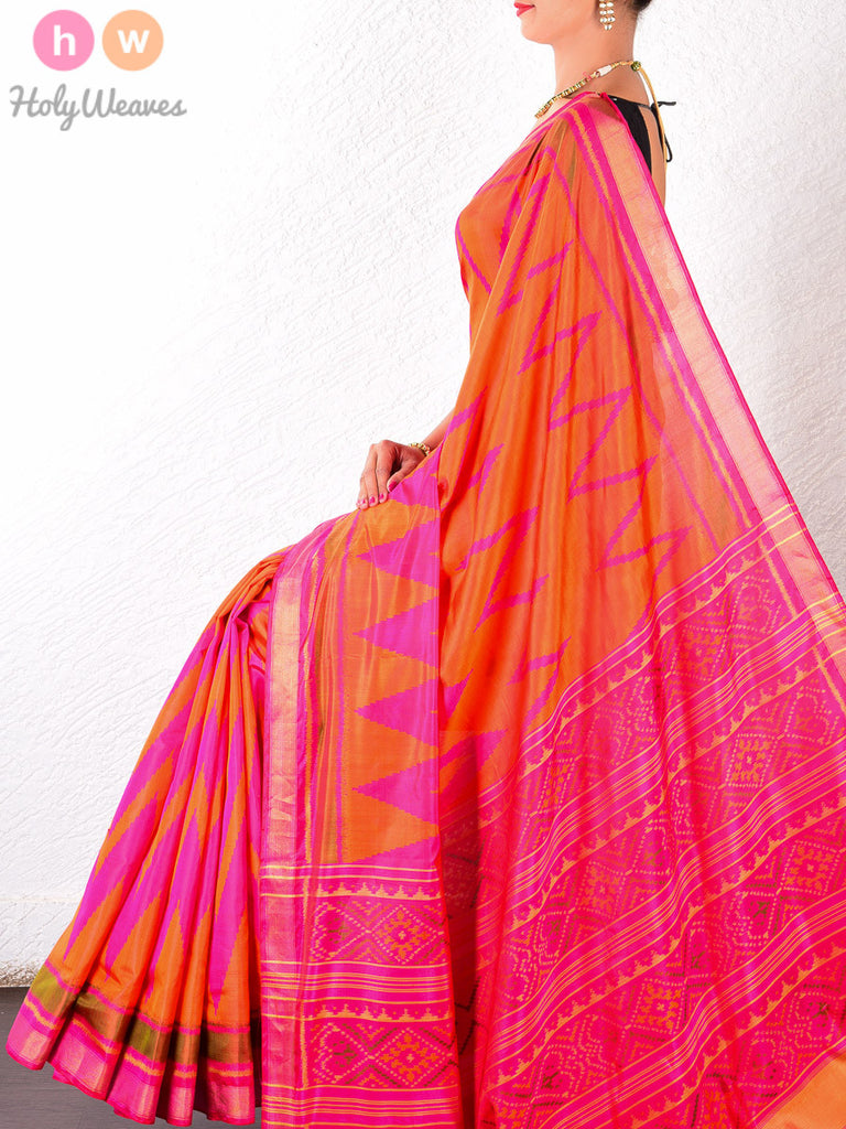 Orange Katan Silk Patola Handwoven Saree - HolyWeaves - 1