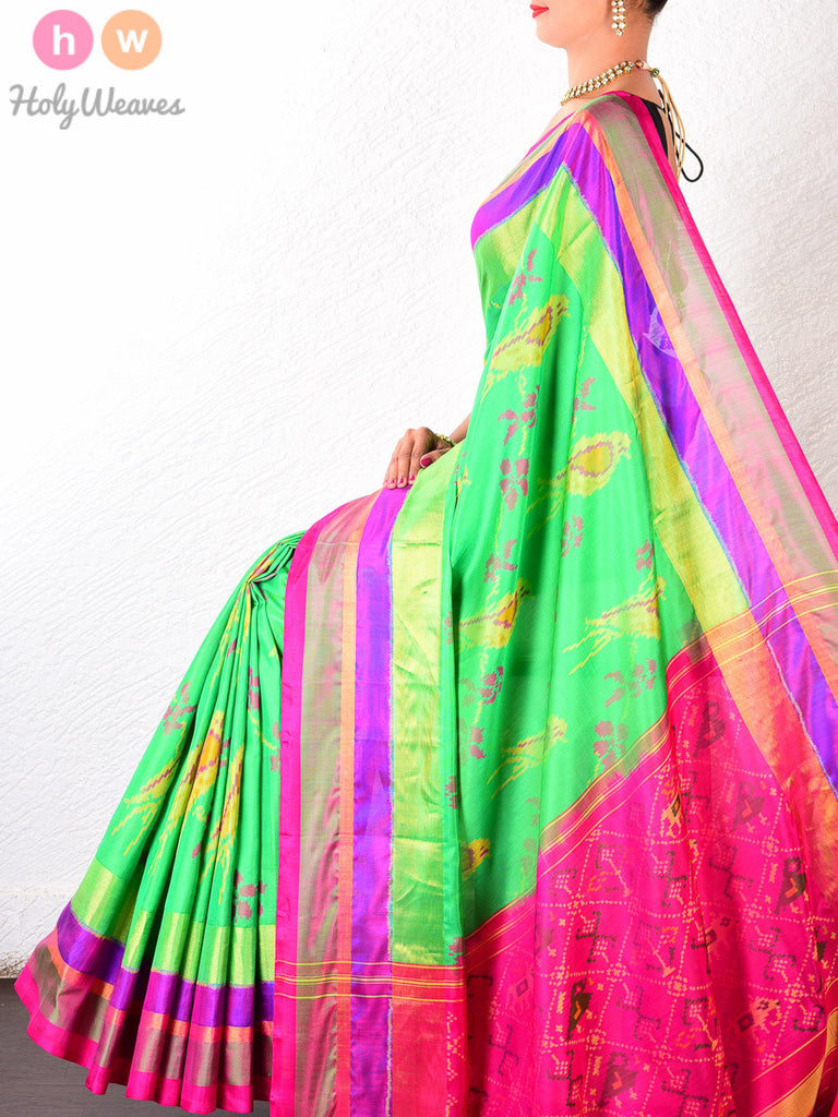 Green Katan Silk Patola Handwoven Saree - HolyWeaves - 1