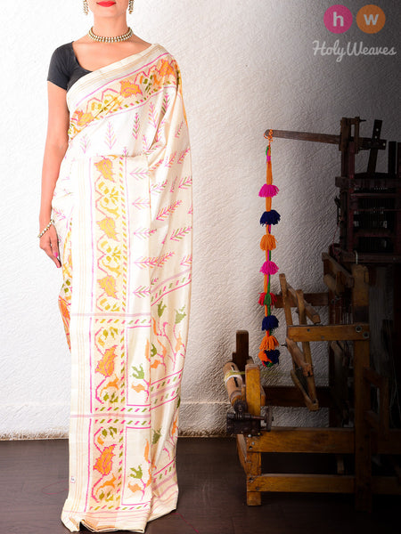 White Katan Silk Patola Handwoven Saree - HolyWeaves - 2