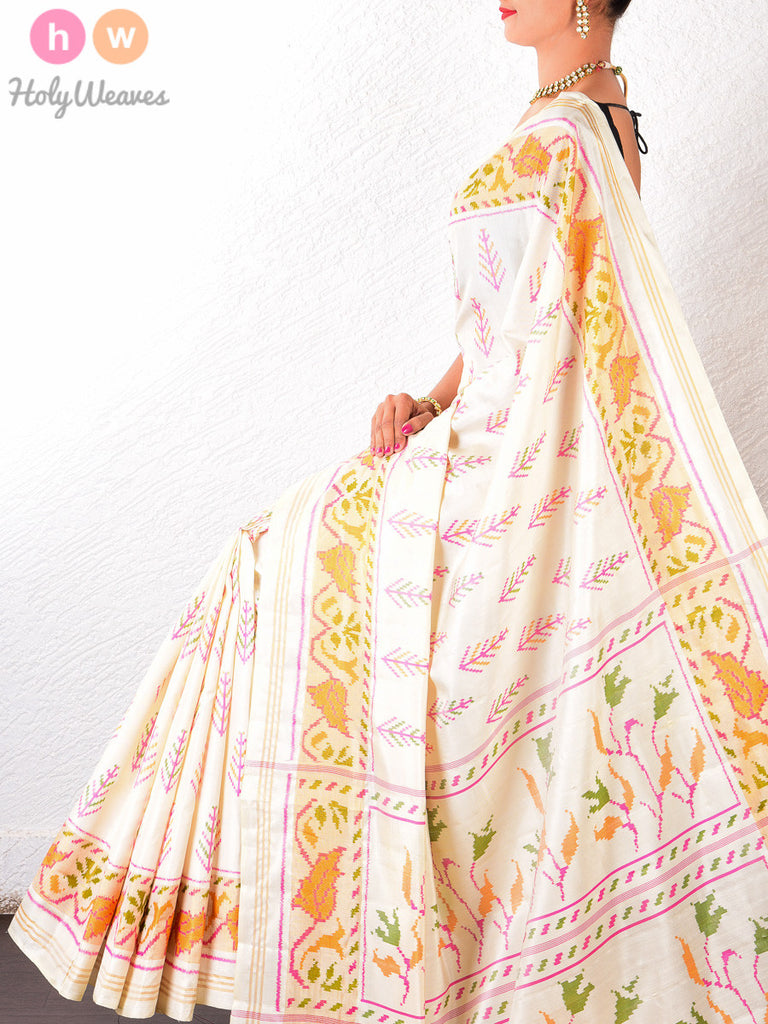 White Katan Silk Patola Handwoven Saree - HolyWeaves - 1